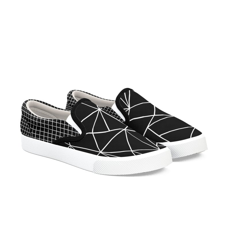 Ab Outline Grid on Side Black in Men's Slip-On Shoes by Project M's Artist Shop