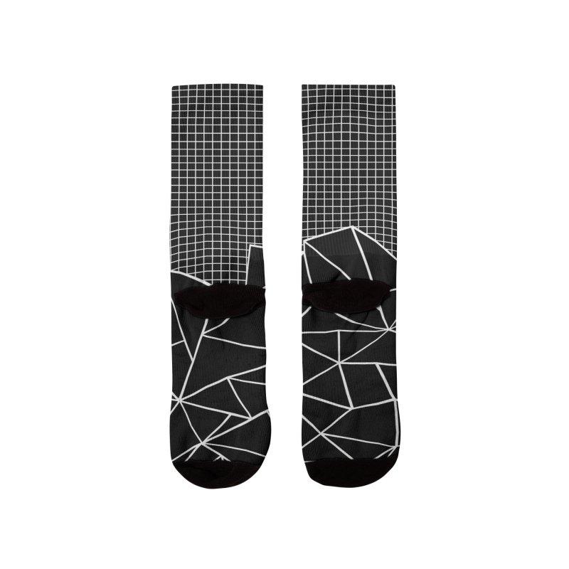 Ab Outline Grid on Side Black Women's Socks by Emeline