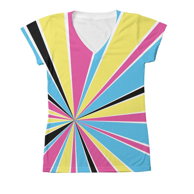 CMYK Star Burst Women's Large V-Neck by Project M's Artist Shop