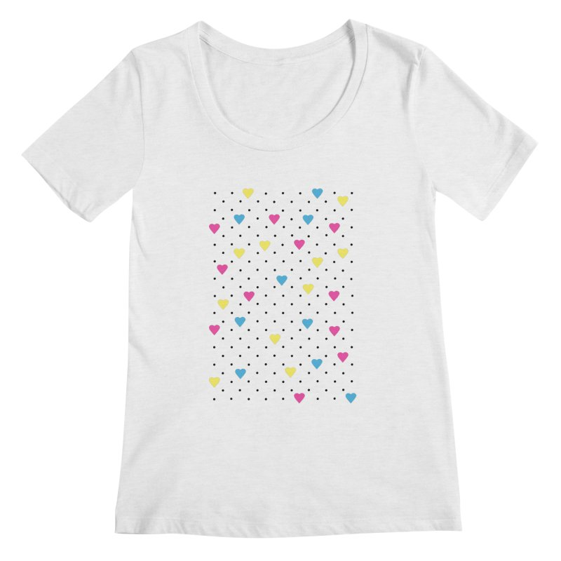 Pin Point Hearts CMYK Women's Regular Scoop Neck by Project M's Artist Shop