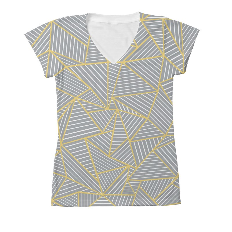 Ab Outline Grey and Gold Women's Large V-Neck by Project M's Artist Shop