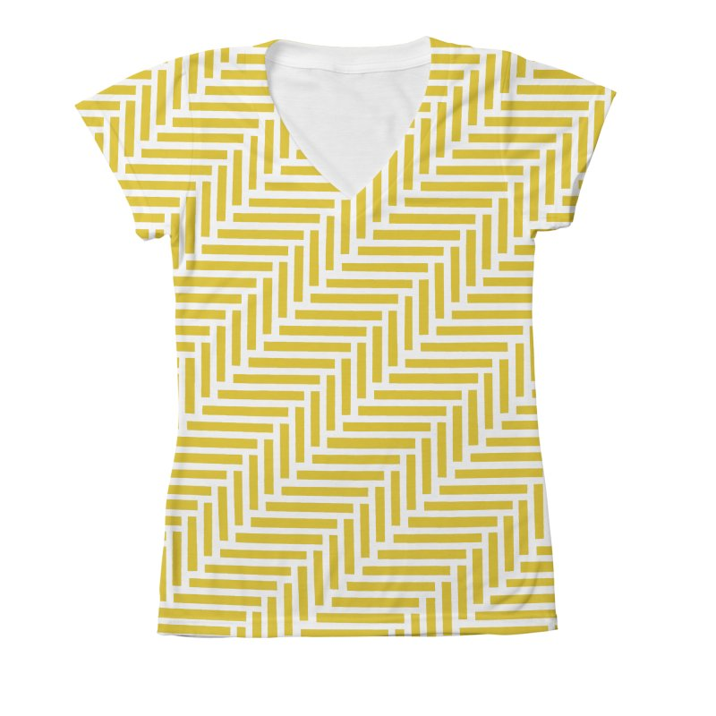 Herringbone Yellow Women's X-Large V-Neck by Project M's Artist Shop