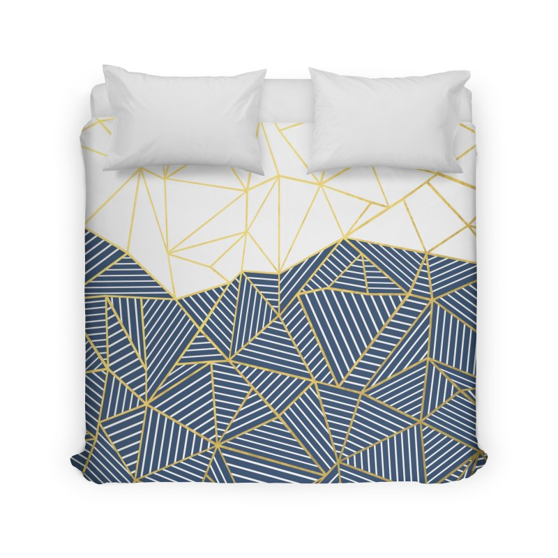 Ab Half and Half Navy Gold Home Duvet by Emeline