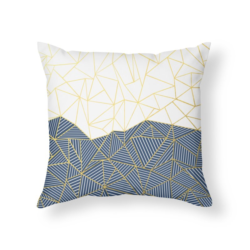 Ab Half and Half Navy Gold Home Throw Pillow by Emeline
