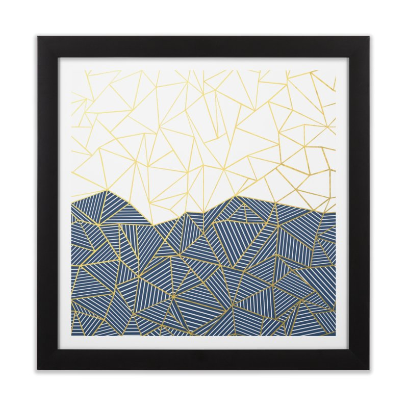 Ab Half and Half Navy Gold Home Framed Fine Art Print by Emeline
