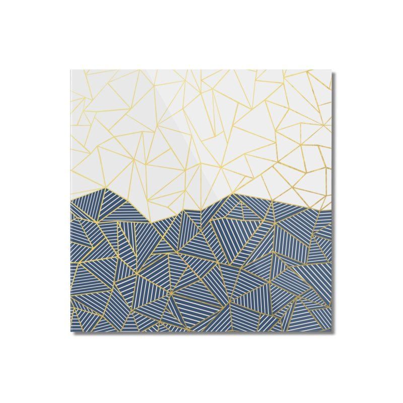 Ab Half and Half Navy Gold Home Mounted Acrylic Print by Emeline