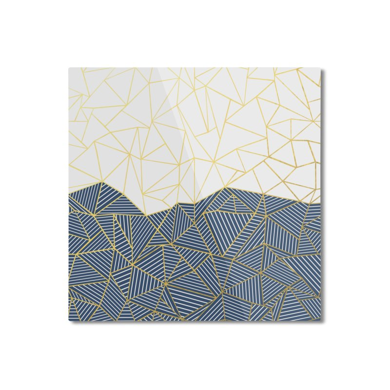 Ab Half and Half Navy Gold Home Mounted Aluminum Print by Emeline