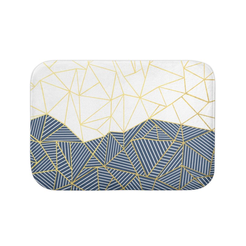 Ab Half and Half Navy Gold Home Bath Mat by Emeline