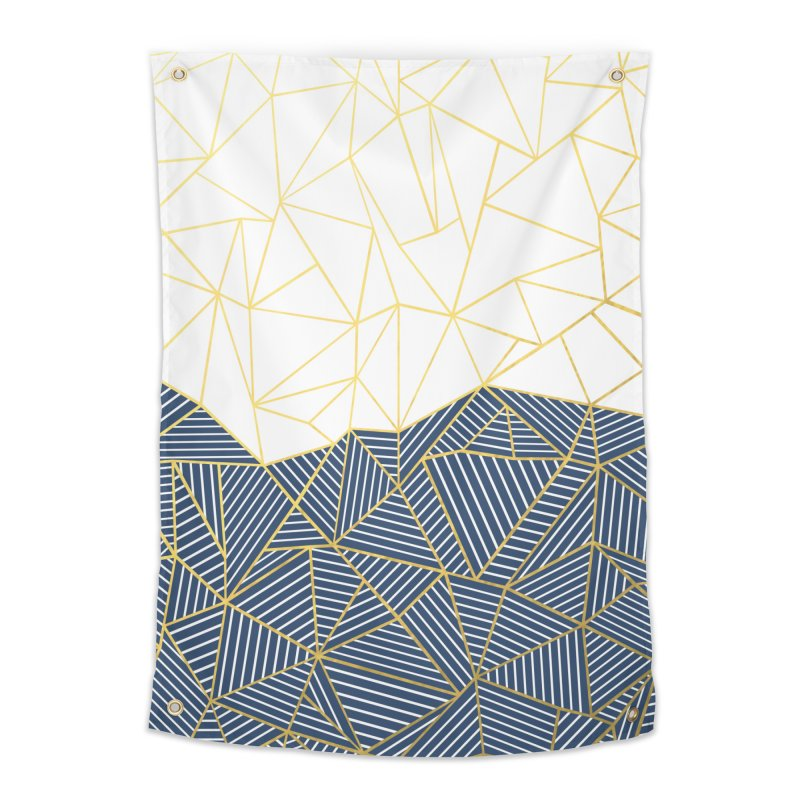 Ab Half and Half Navy Gold Home Tapestry by Emeline