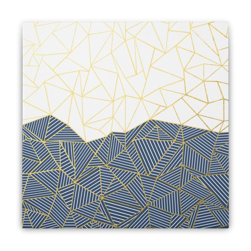 Ab Half and Half Navy Gold Home Stretched Canvas by Emeline