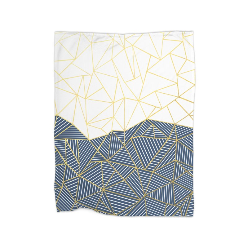 Ab Half and Half Navy Gold Home Blanket by Emeline