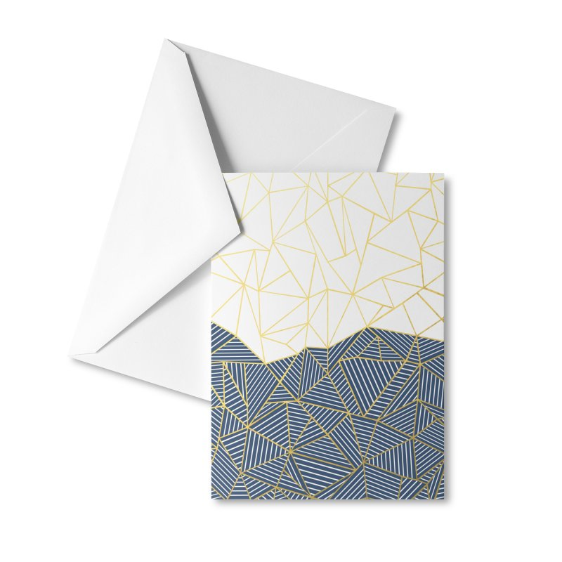 Ab Half and Half Navy Gold Accessories Greeting Card by Emeline