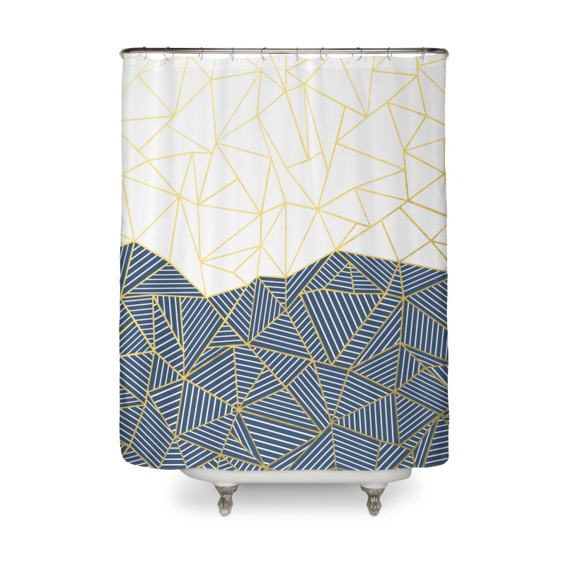 Ab Half and Half Navy Gold Home Shower Curtain by Emeline