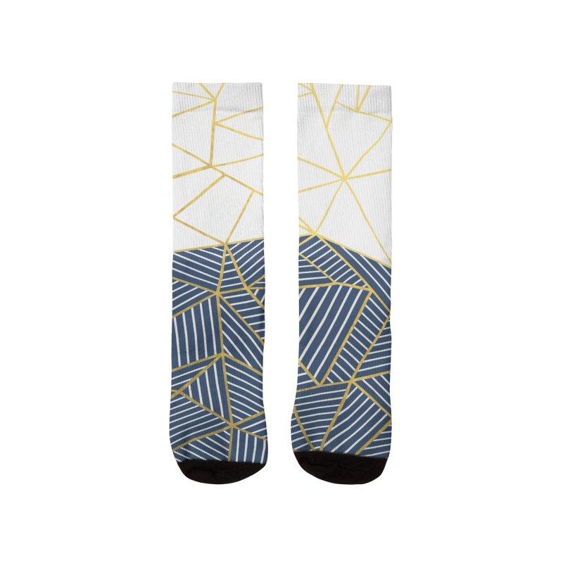 Ab Half and Half Navy Gold Men's Socks by Emeline