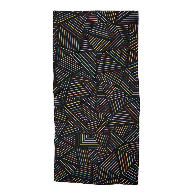 Ab Linear Rainbow Black Accessories Beach Towel by Emeline