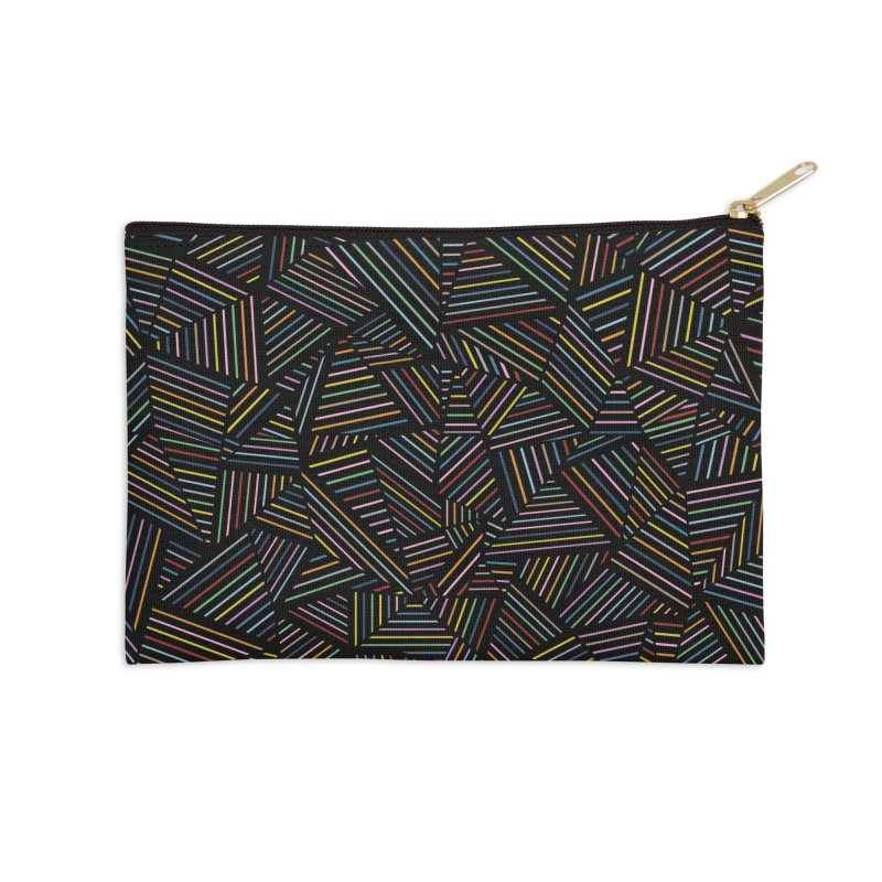 Ab Linear Rainbow Black Accessories Zip Pouch by Emeline