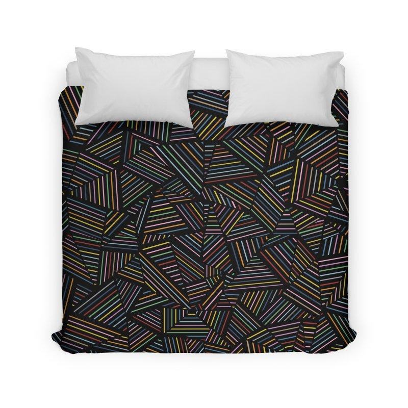 Ab Linear Rainbow Black Home Duvet by Emeline