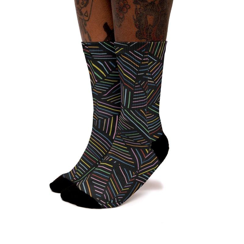 Ab Linear Rainbow Black Women's Socks by Emeline