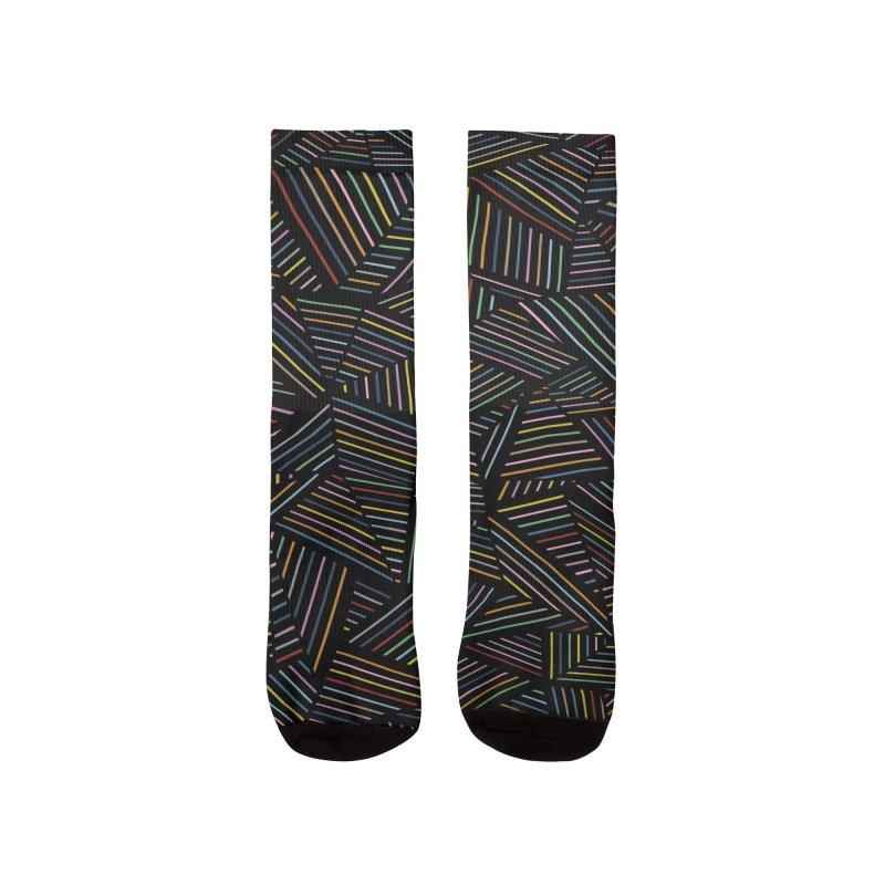 Ab Linear Rainbow Black Men's Socks by Emeline