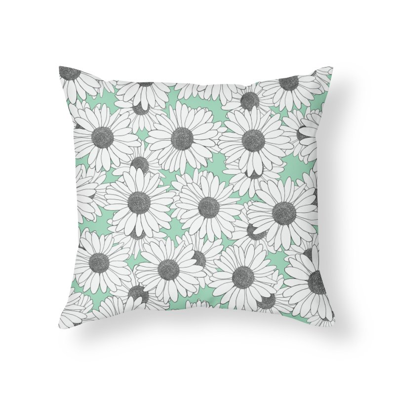 Daisy Mint Blocks in Throw Pillow by Project M's Artist Shop