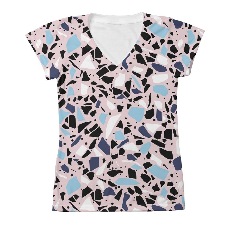 Terrazo Pink Women's X-Large V-Neck by Project M's Artist Shop