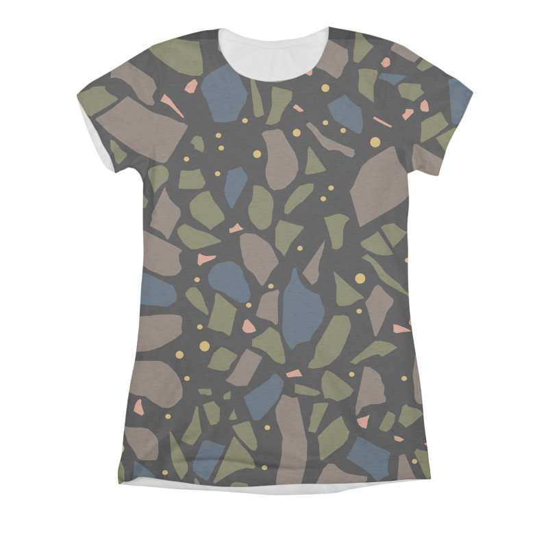 Terrazo Black Women's Triblend All Over Print by Project M's Artist Shop