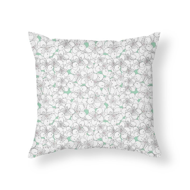 Cherry Blossom Pink and Mint Blocks in Throw Pillow by Project M's Artist Shop