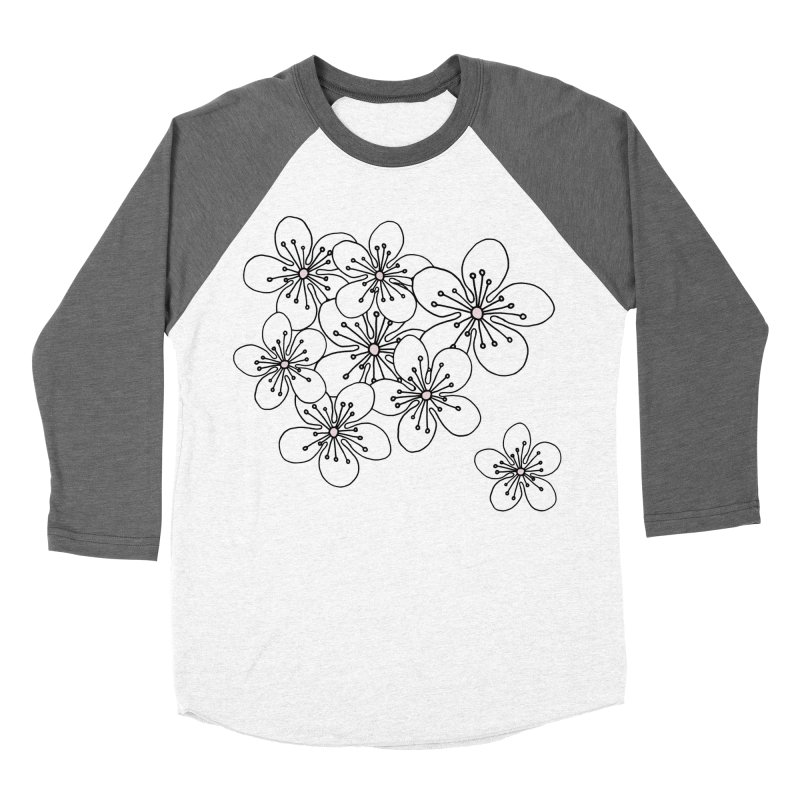 Cherry Blossom Pink and Mint Blocks Women's Baseball Triblend Longsleeve T-Shirt by Project M's Artist Shop