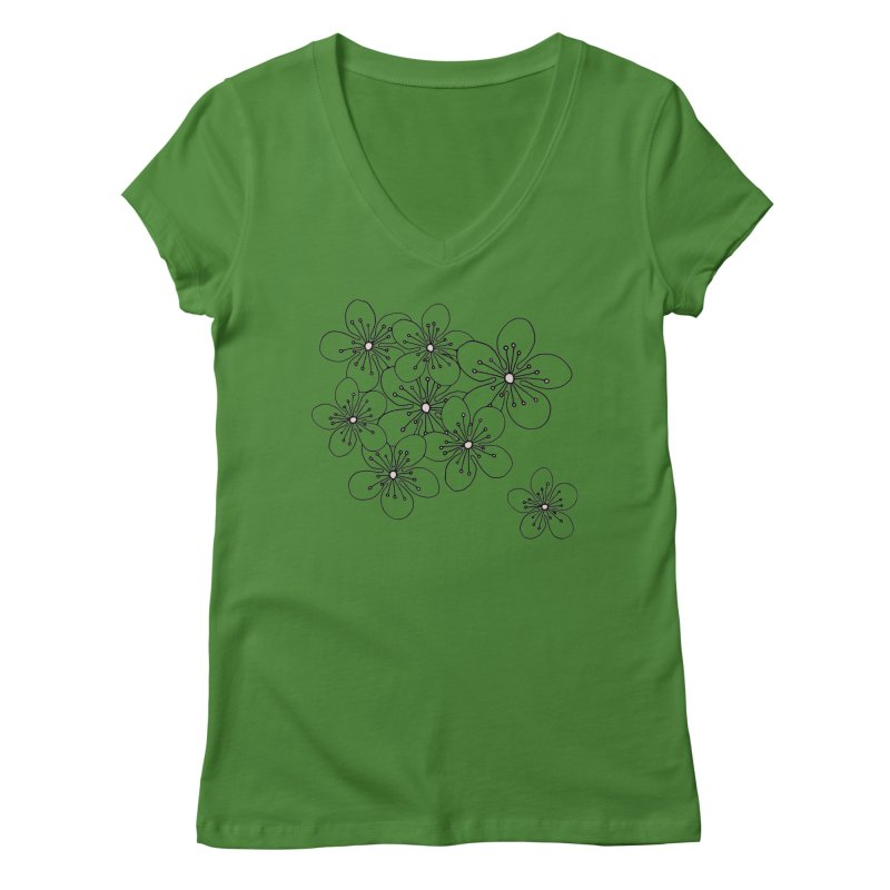 Cherry Blossom Pink and Mint Blocks Women's Regular V-Neck by Project M's Artist Shop