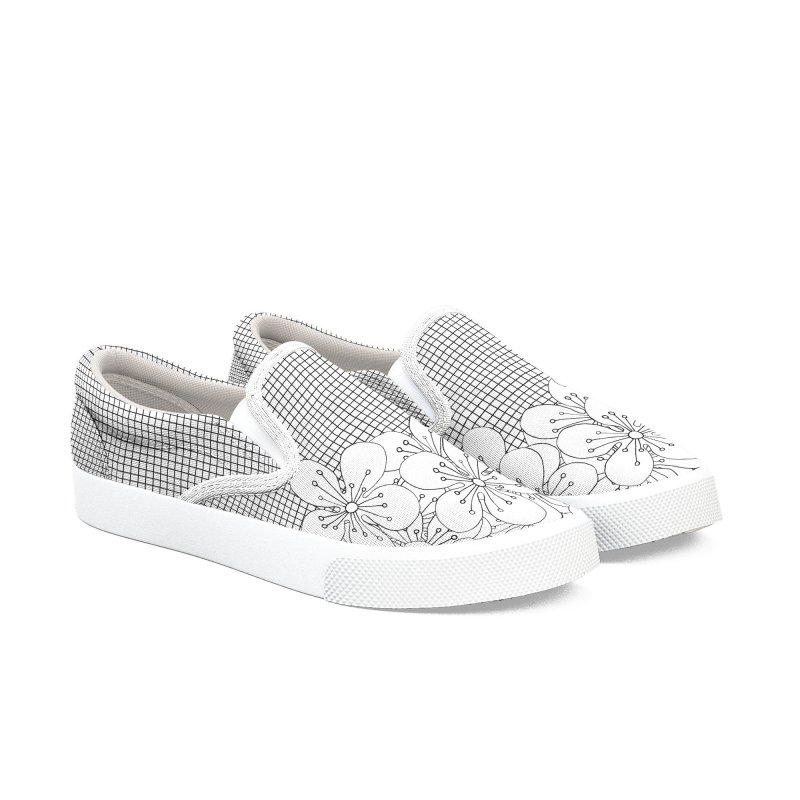 Cherry Blossom Grid Women's Slip-On Shoes by Project M's Artist Shop