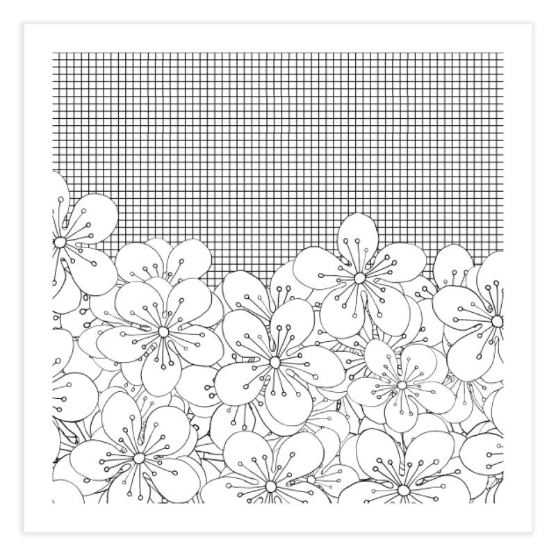 Cherry Blossom Grid Home Bath Mat by Project M's Artist Shop