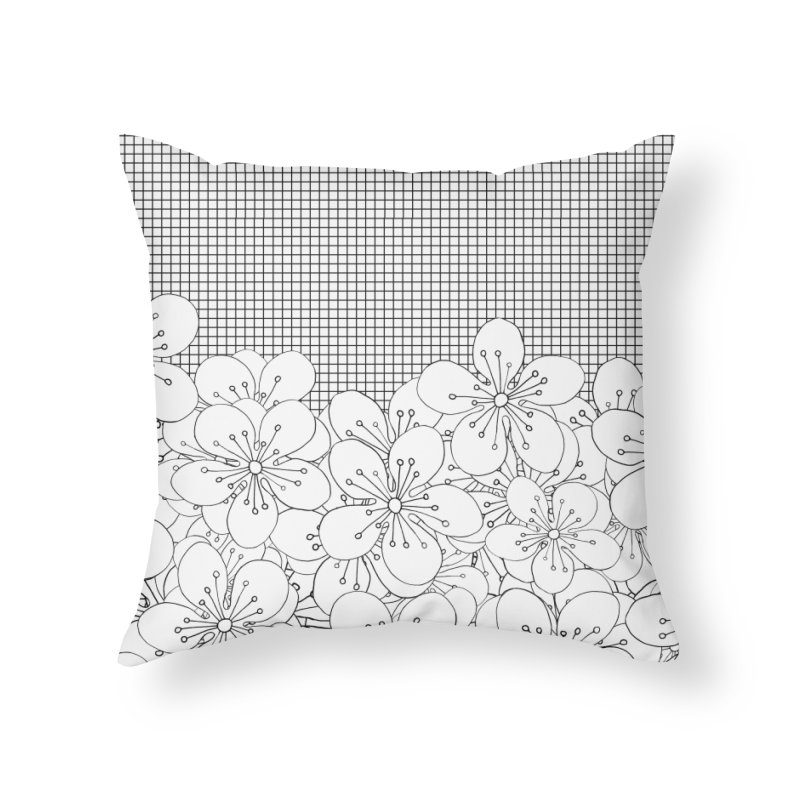Cherry Blossom Grid in Throw Pillow by Project M's Artist Shop