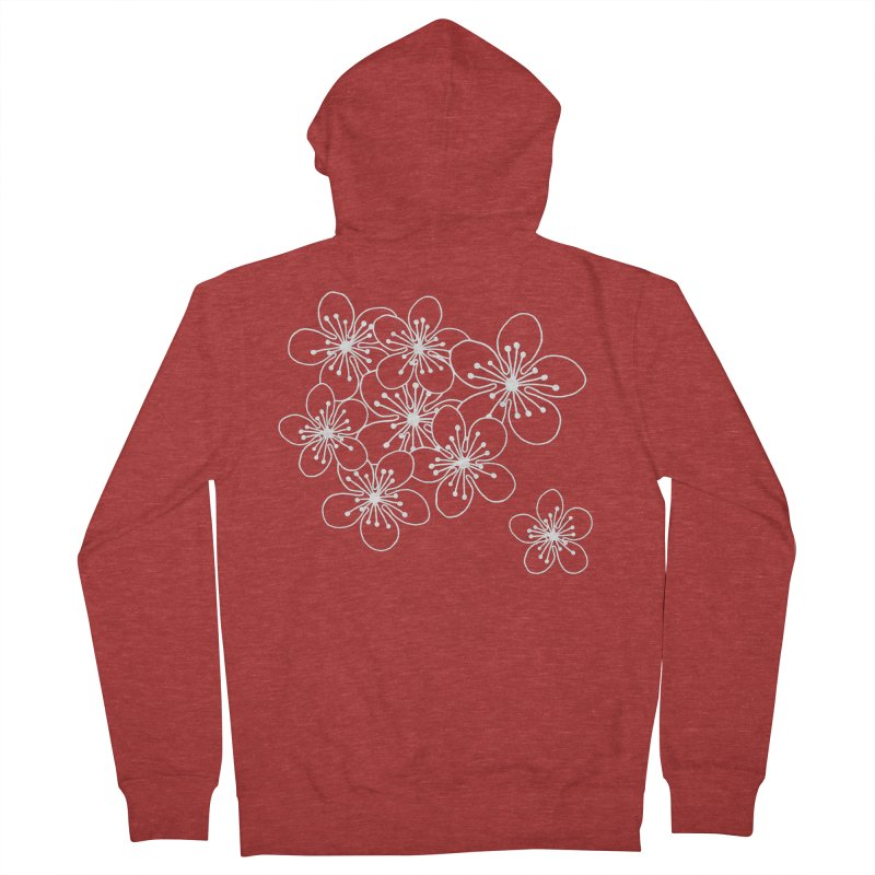 Cherry Blossom Grid Women's French Terry Zip-Up Hoody by Project M's Artist Shop