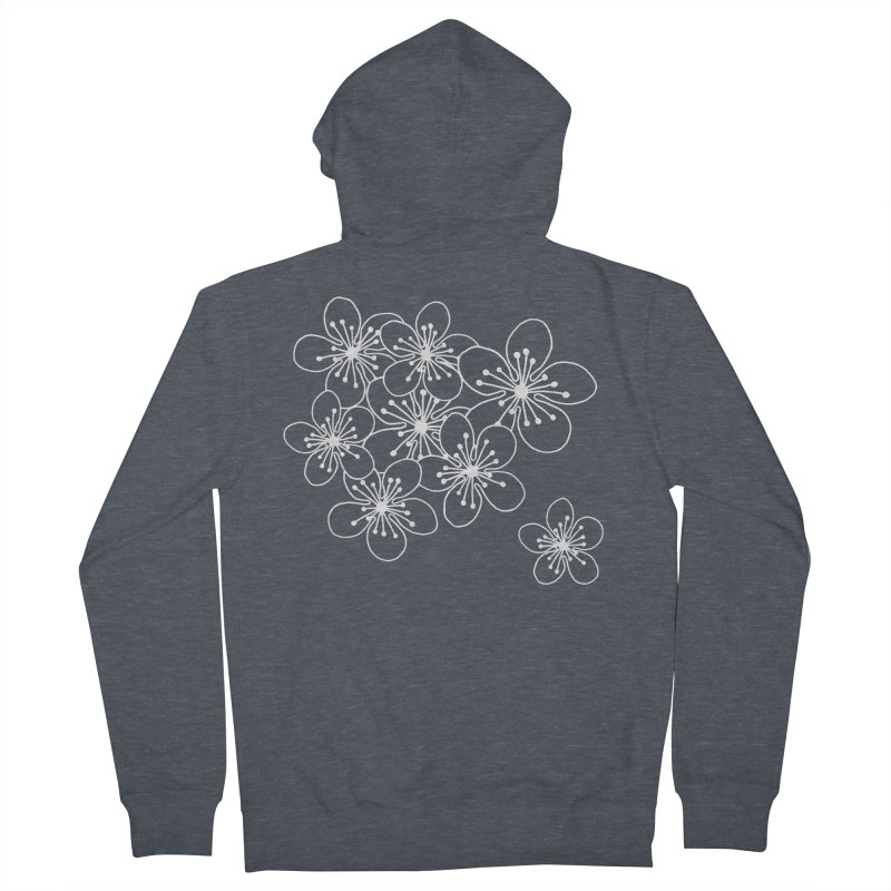 Cherry Blossom Grid Men's French Terry Zip-Up Hoody by Project M's Artist Shop