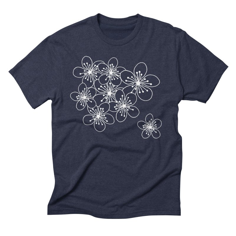 Cherry Blossom Grid Men's Triblend T-Shirt by Project M's Artist Shop