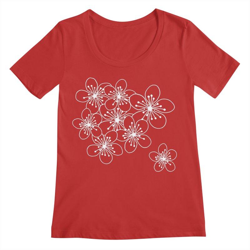 Cherry Blossom Grid Women's Regular Scoop Neck by Project M's Artist Shop