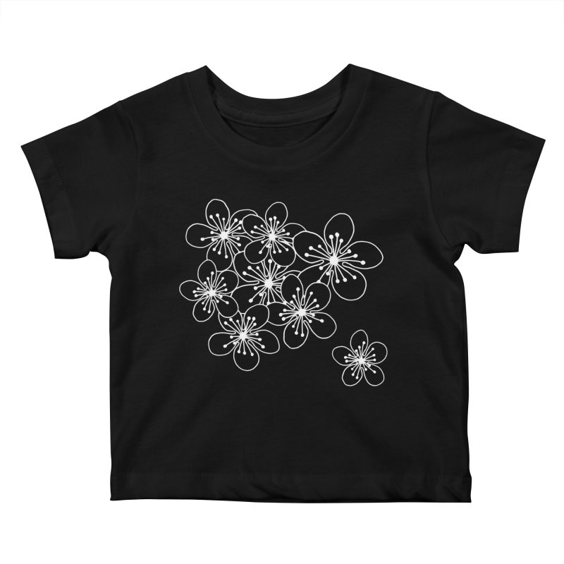 Cherry Blossom Grid Kids Baby T-Shirt by Project M's Artist Shop