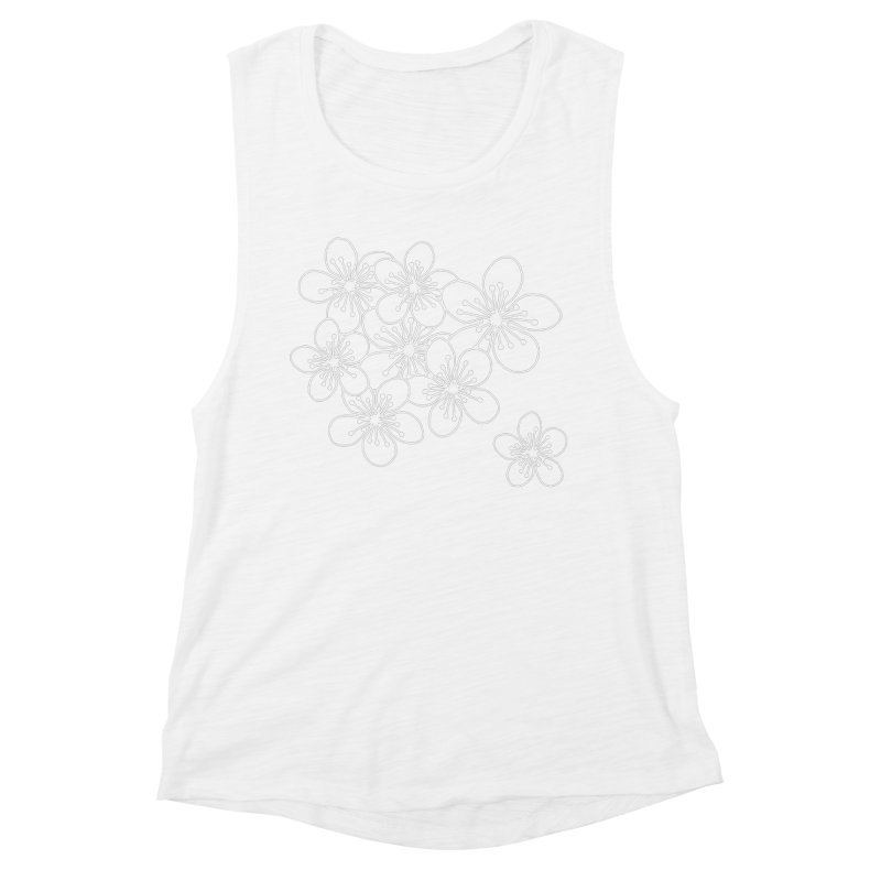 Cherry Blossom Grid Women's Muscle Tank by Project M's Artist Shop