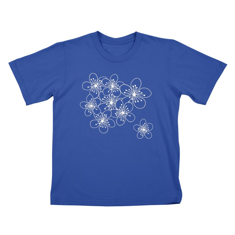 Cherry Blossom Grid Kids T-Shirt by Project M's Artist Shop