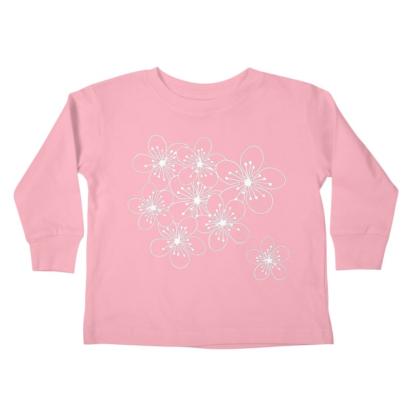 Cherry Blossom Grid Kids Toddler Longsleeve T-Shirt by Project M's Artist Shop