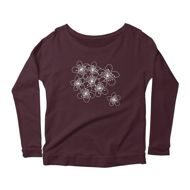 Cherry Blossom Grid Women's Scoop Neck Longsleeve T-Shirt by Project M's Artist Shop