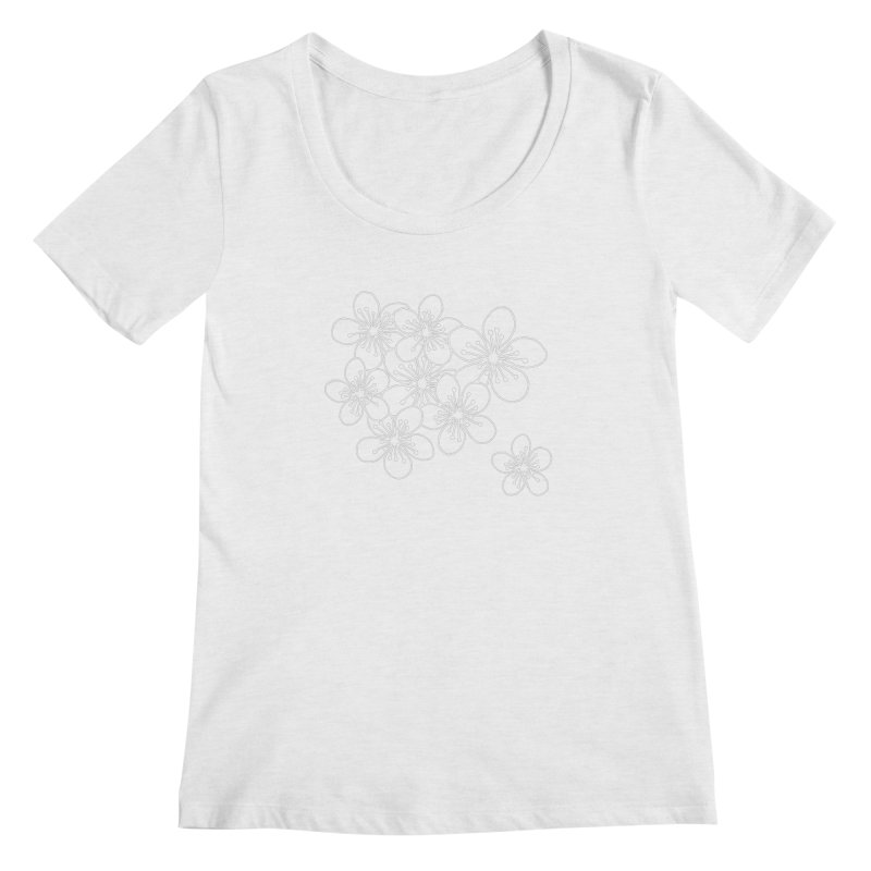 Cherry Blossom Grid Women's Regular Scoop Neck by Project M's Artist Shop