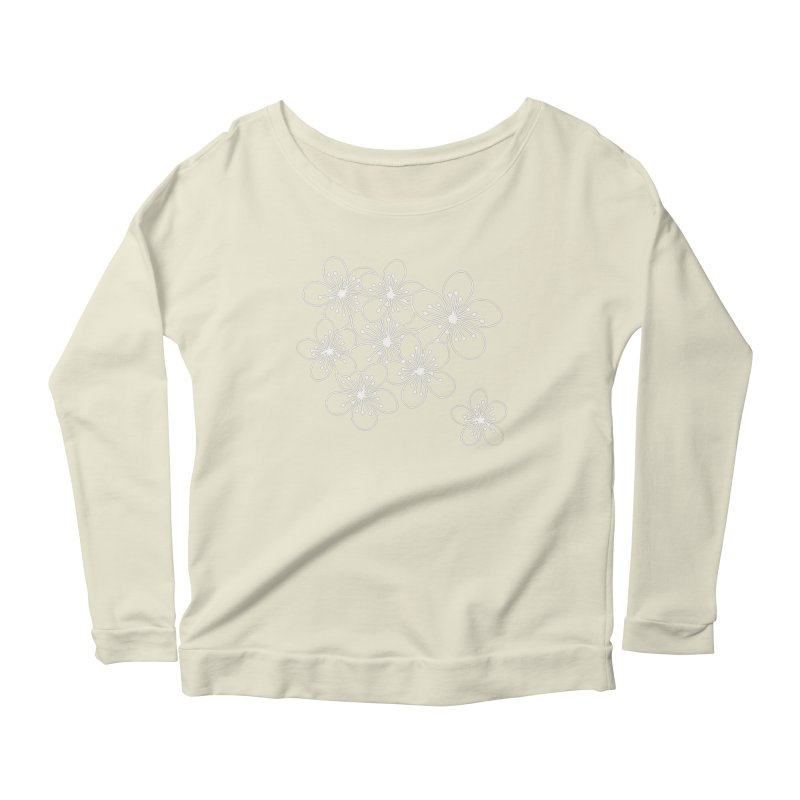 Cherry Blossom Grid Women's Scoop Neck Longsleeve T-Shirt by Project M's Artist Shop