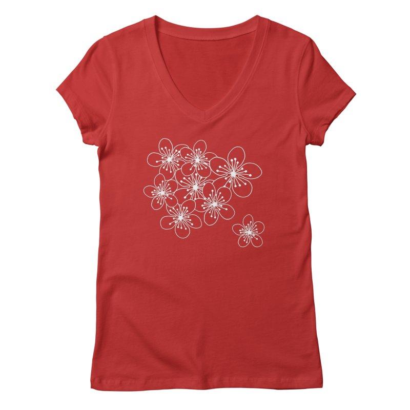 Cherry Blossom Grid Women's Regular V-Neck by Project M's Artist Shop