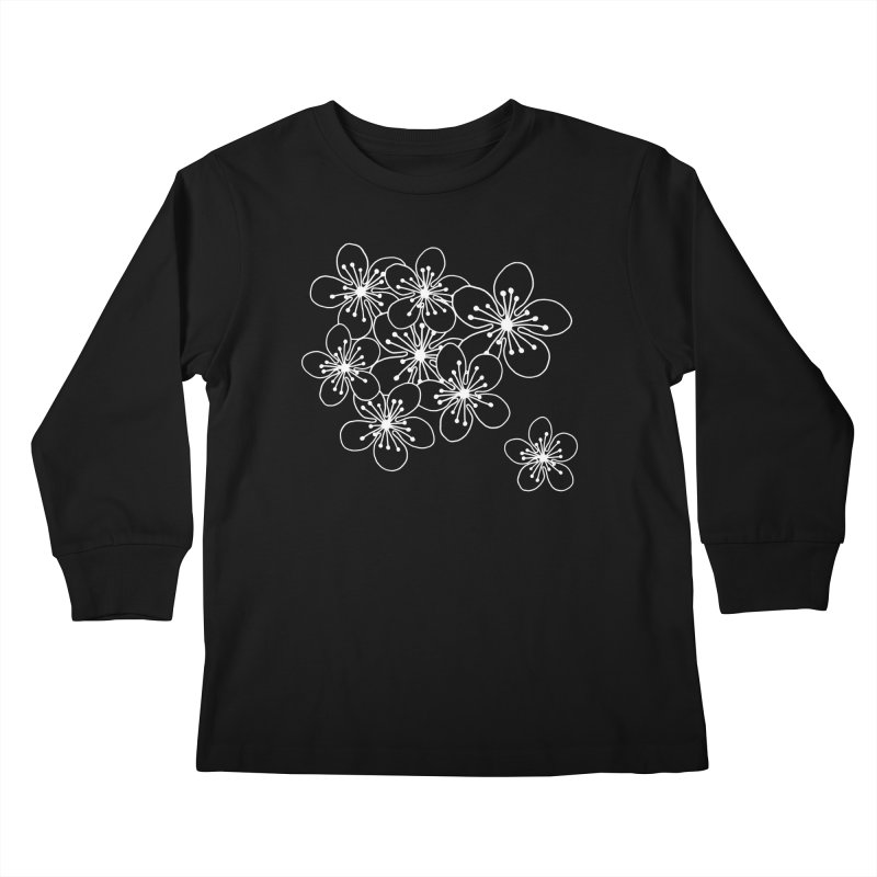 Cherry Blossom Grid Kids Longsleeve T-Shirt by Project M's Artist Shop