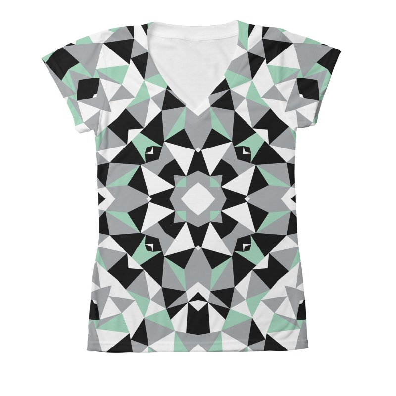 Kalidoscope Mint Women's Large V-Neck by Project M's Artist Shop