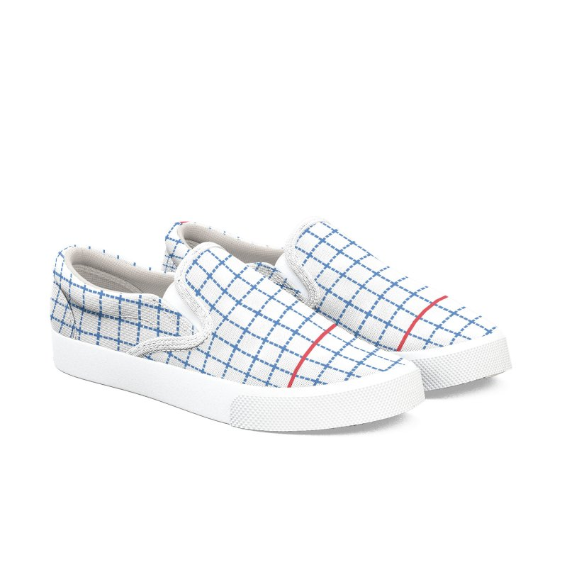 Dotted Grid Red White and Blue Women's Slip-On Shoes by Project M's Artist Shop
