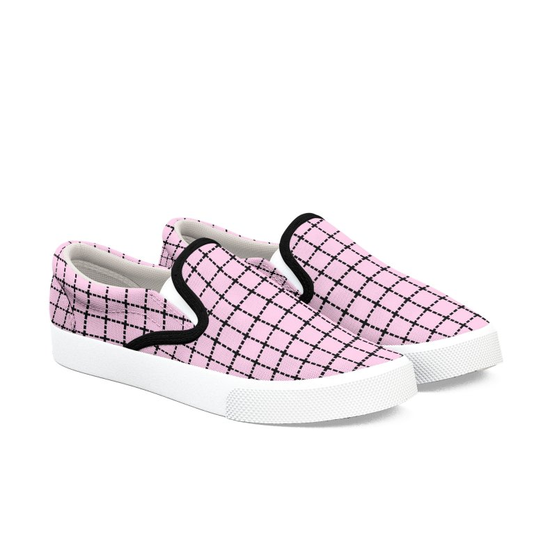 Dotted Grid Blush Women's Slip-On Shoes by Project M's Artist Shop