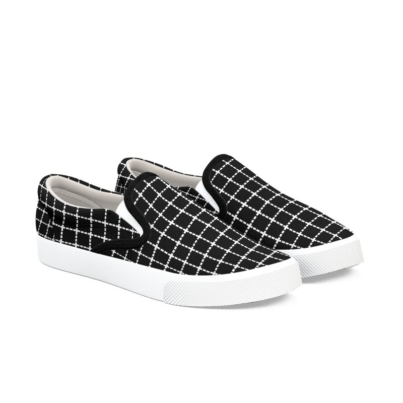 Dotted Grid Black Women's Slip-On Shoes by Project M's Artist Shop