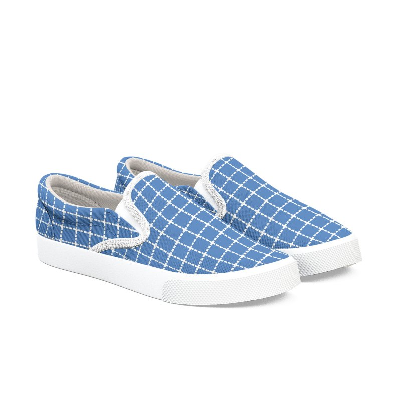 Dotted Grid Blue Men's Slip-On Shoes by Project M's Artist Shop